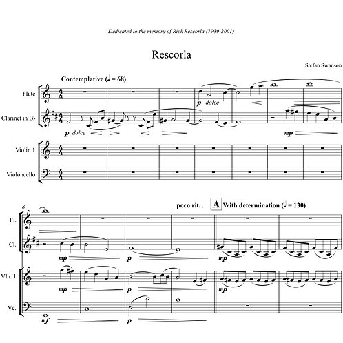 RESCORLA (flute, clarinet, violin, and cello)