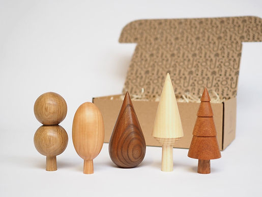 Wooden Trees: Woodland set of five