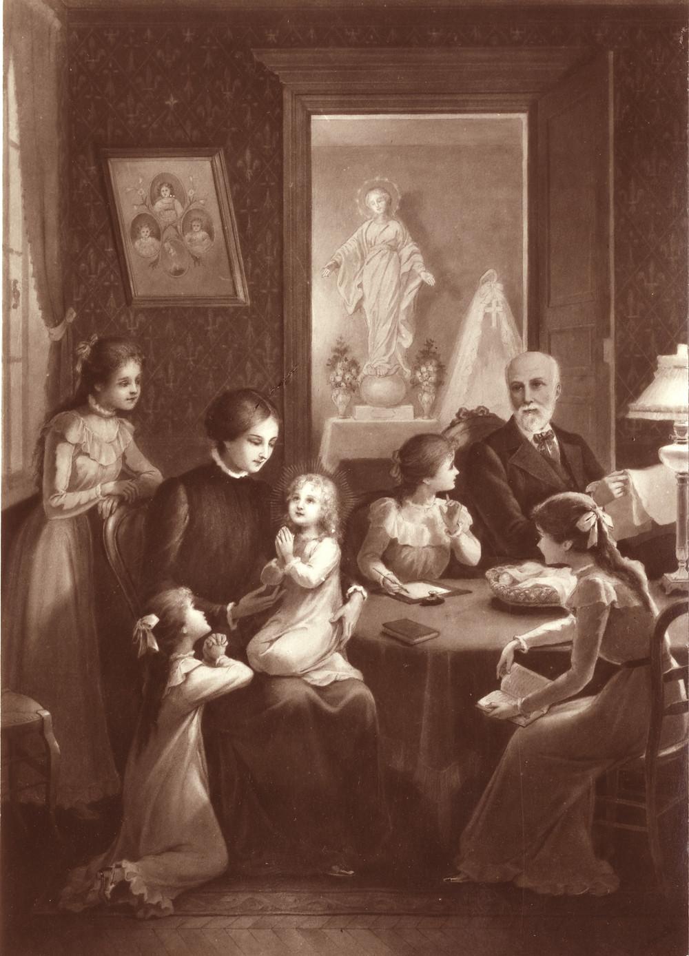 Família de Luís e Zélia Martin. No fundo, uma fotografia dos filhos que já haviam falecido.