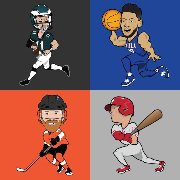 Philadelphia All-Stars Caricatures (2018)