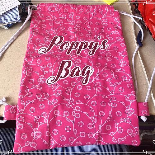 Personalised cotton drawstring bag