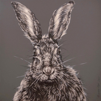 Hare on Grey Brown - SOLD