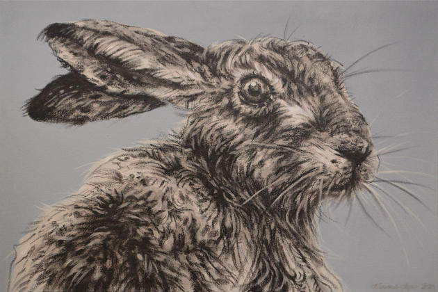 Hare on Warm Grey - SOLD