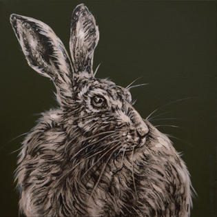 Hare Study on Deep Green - SOLD