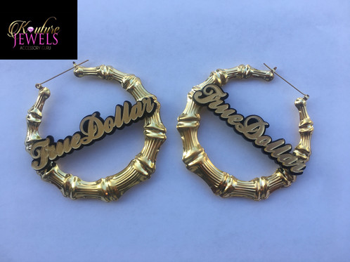Check Out The Custom Name Bamboo Earrings These Flashy Pair Will Catch Attention Of So Many People Be Diffe