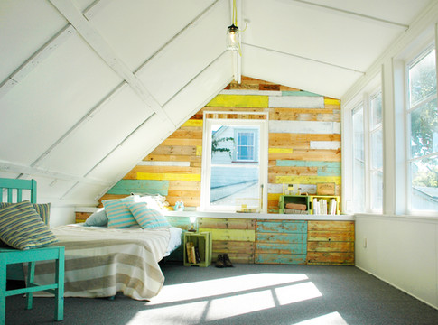 Bedroom with upcycled wall and furniture.