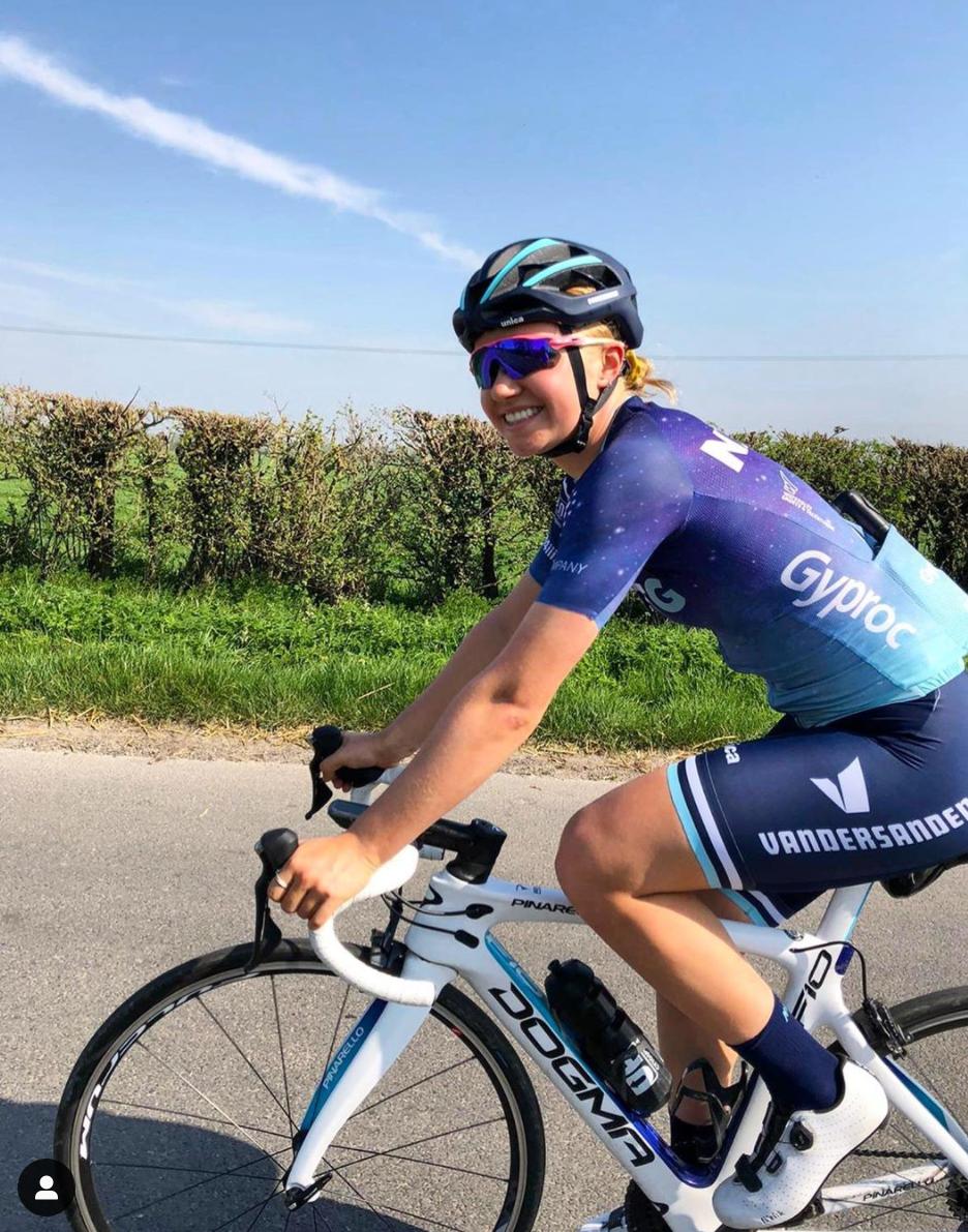 Emily Wadsworth riding a Pinarello Dogma