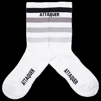 ATTAQUER - Faded Stripe Socks in White and Black