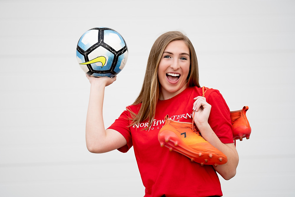Senior Photos with Soccer Ball in Frisco