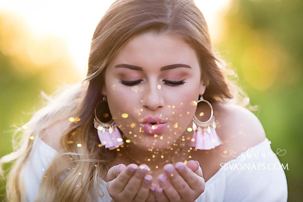 senior glitter blowing photo - frisco senior photos