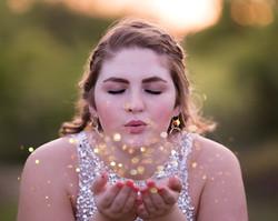 senior girl glitter