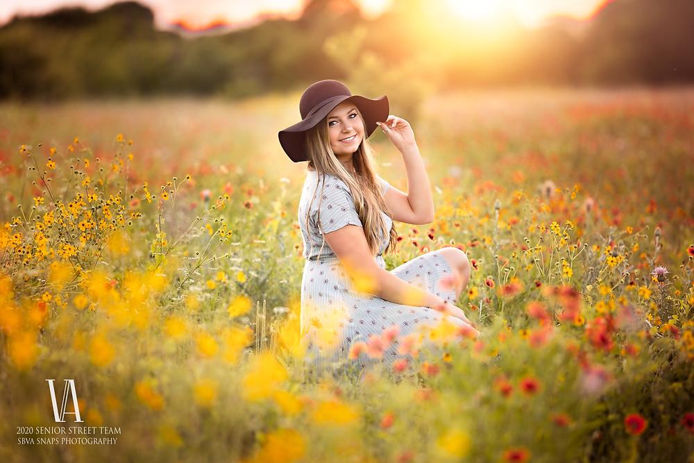 Senior Photos with Wildflowers