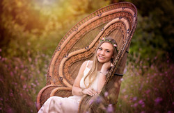 Senior Portrait with Peacock Chair