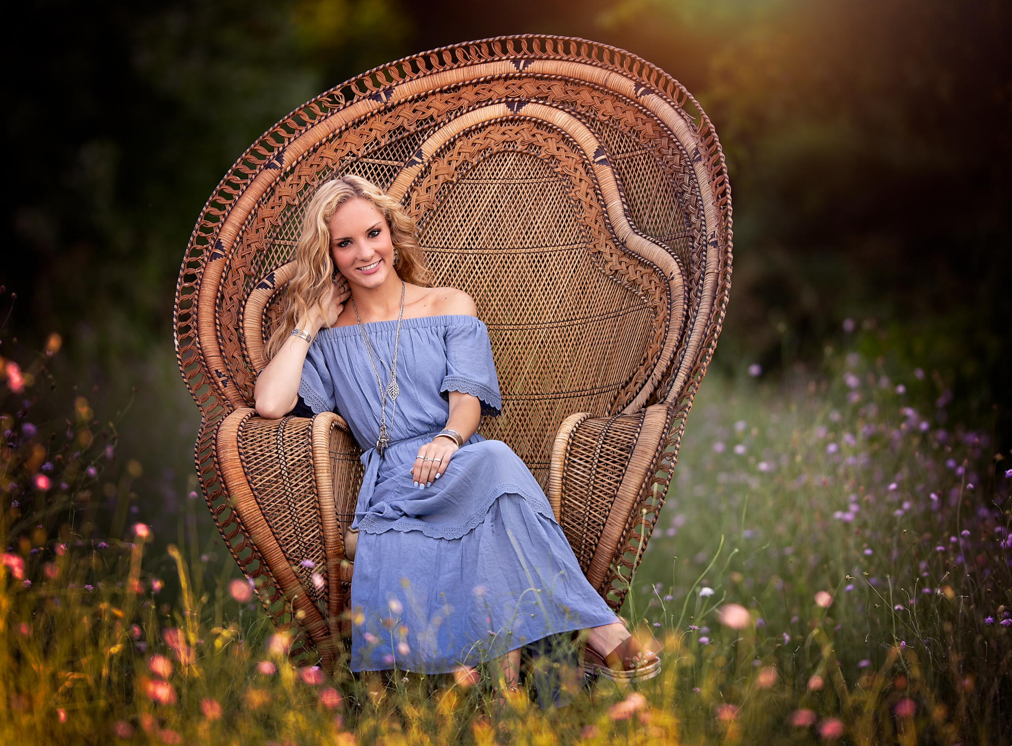 Senior Photo with peacock chair