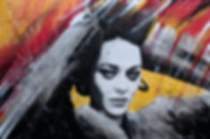 Marion Cotillard portrait painting abstract