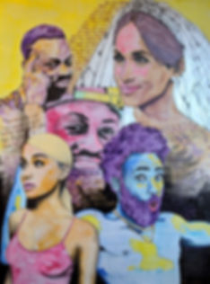 Meghan Markle Roll Safe Ariana Grande Dwyane Wade Childish Gambino portrait painting abstract art