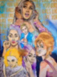 Girls like you maroon 5 painting collage abstract portraits Cardi B Ellen Degeneres Lilly Singh Camila Cabello Millie Bobby Brown Tiffany Haddish