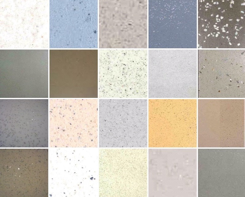 Polished stone concrete walls samples sample colour colours chart board