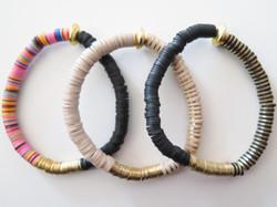 Bracelet Trio - Rainbow Black, Black and