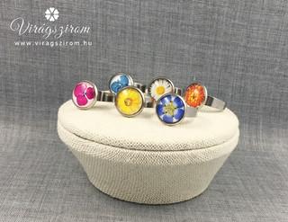 Préselt virág nyomat - nemesacél gyűrű