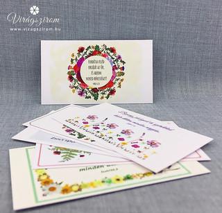 Préselt virág nyomat kártya