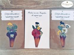 Virágszirom préselt virág képeslapok