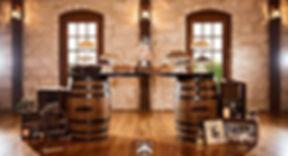 whiskey barrel bar set-up