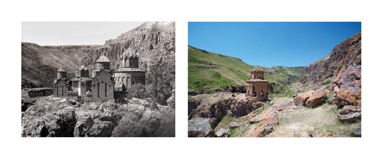 Khtzkonk Monastery, in the region of Kars, c. 1900 & 2017