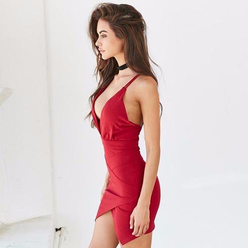 V-Neck Backless Dress