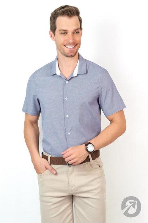 Camisa Social Masculina Manga Curta Azul - Slim