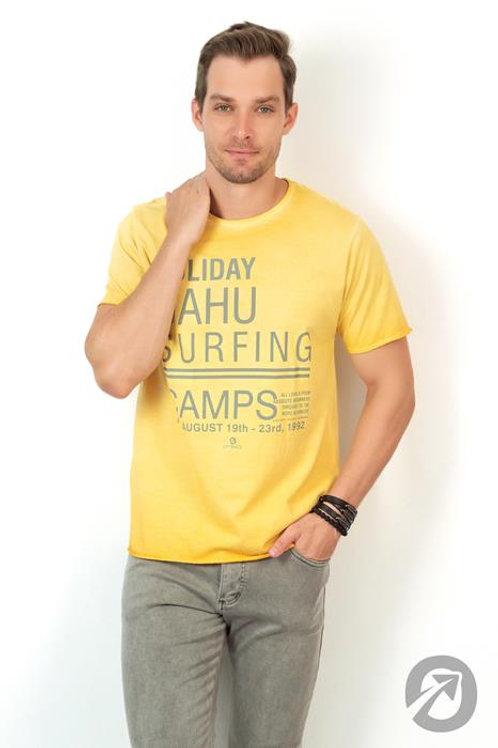 Camiseta Masculina T-shirt Holiday Amarela 100% Algodão