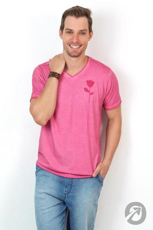 Camiseta T-shirt Rosa Com Decote V 100% Algodão