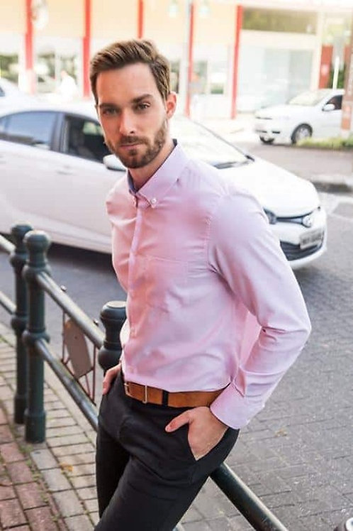 Camisa Social Manga Longa Rosa Com Bolso