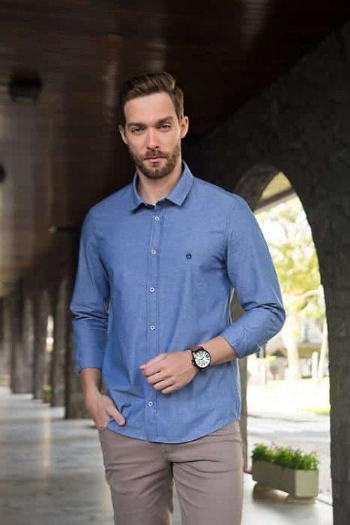 Camisa social  Azul S/ Bolso