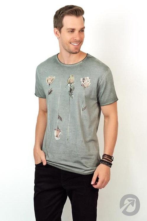 Camiseta Masculina T- Shirt  Long. Rosas A Fio 100% Algodão