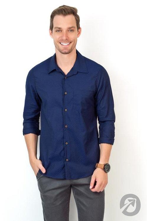 Camisa Manga Longa Azul Com Bolso Casual