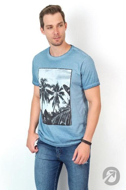 Camiseta Masculina T-shirt Estampado Azul 100% Algodão