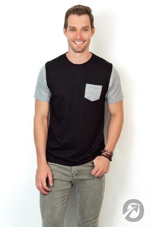 Camiseta Masculina T- Shirt Preta Básica Com Bolso