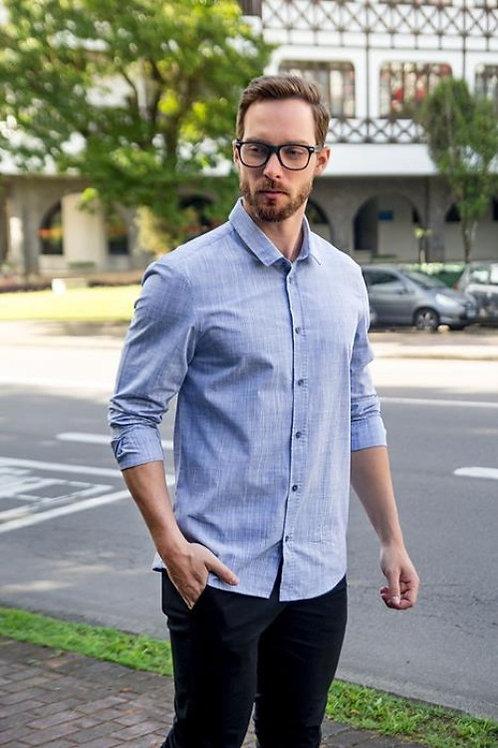 Camisa Manga Longa Azul Masculino Slim