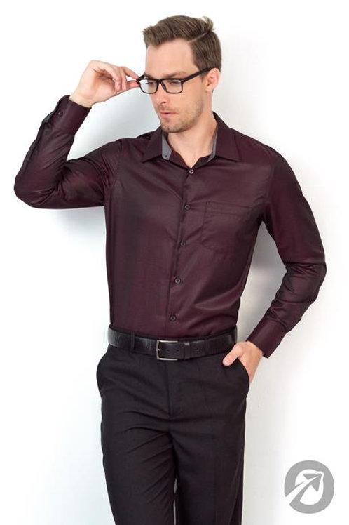 Camisa Social Manga Longa Bordo Com Bolso