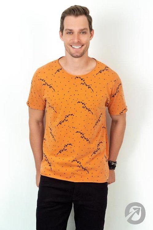 Camiseta T-shirt Print Total A Fio - Laranja - 100% Algodão