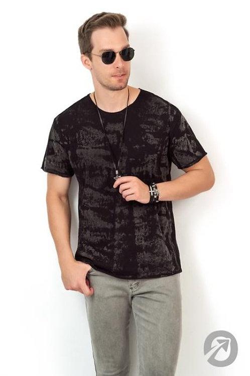 Camiseta T-shirt Old Corrosão Preta A Fio 100% Algodão