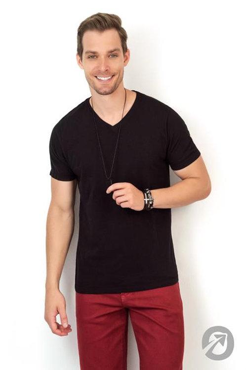 Camiseta T-shirt Preta C/ Decote V 100% Algodão