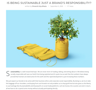 IS BEING SUSTAINABLE JUST A BRAND'S RESPONSIBILITY?