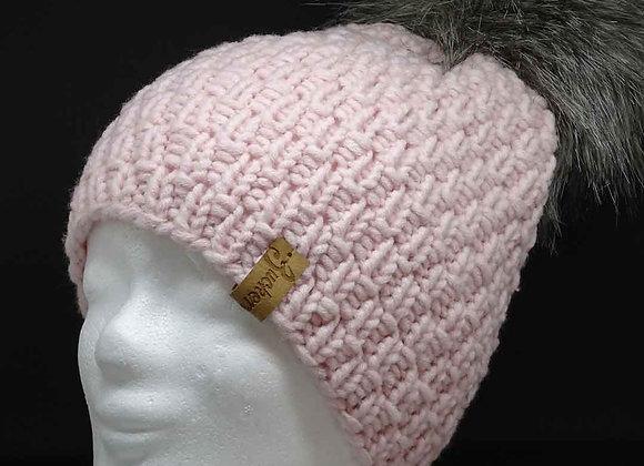 Klassische Mütze aus Mischgarn mit Bommel