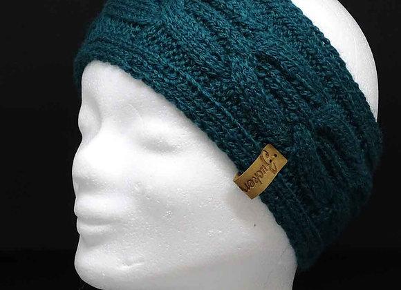Stirnband aus Merinowolle mit Zopf