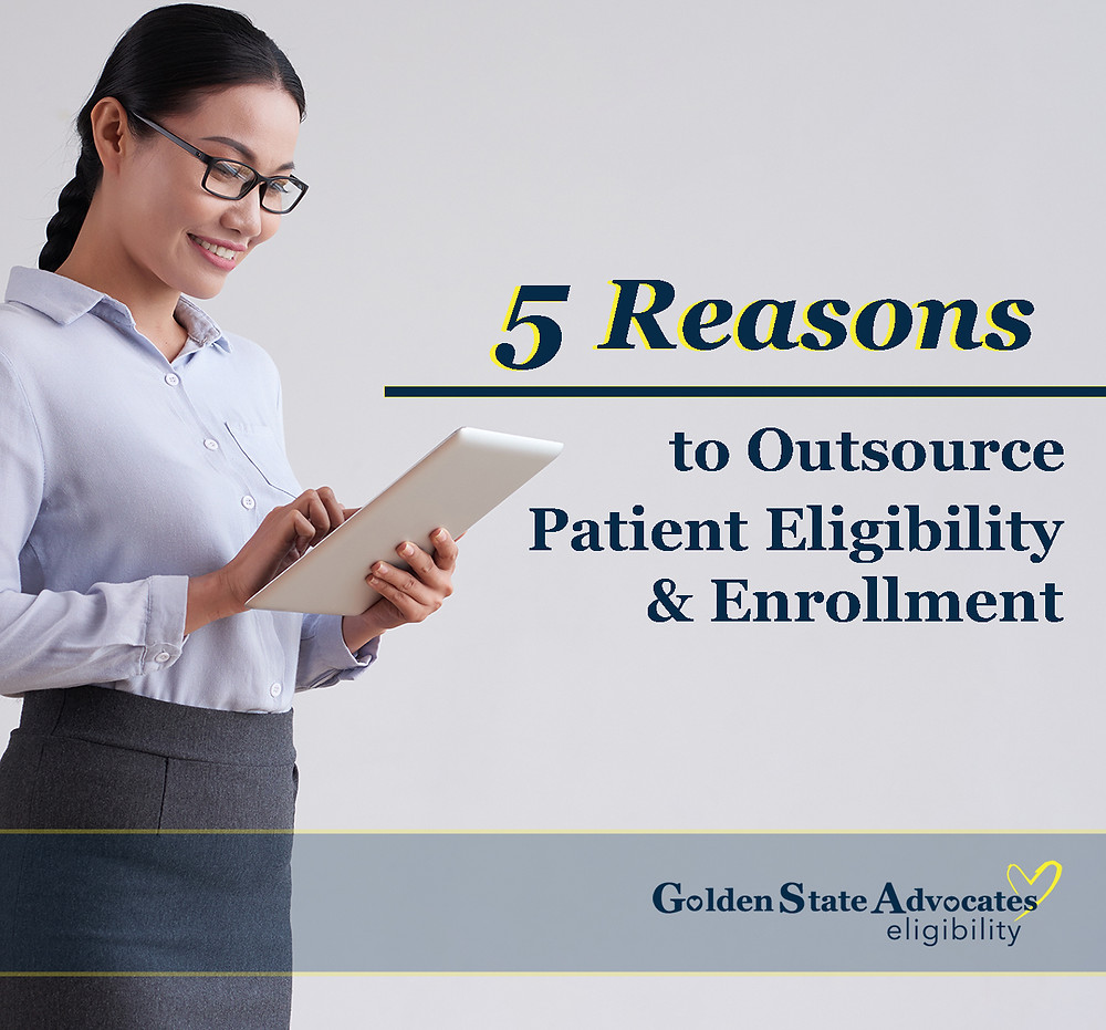 A patient advocate looks at a tablet next to the blog title: 5 Reasons to Outsource Patient Eligibility and Enrollment.