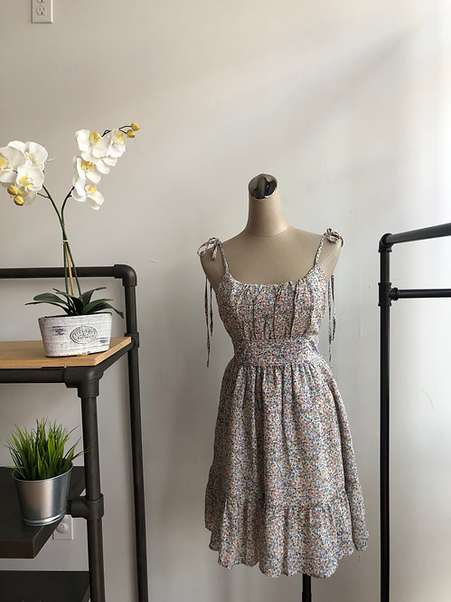 Tie Up Floral Dress