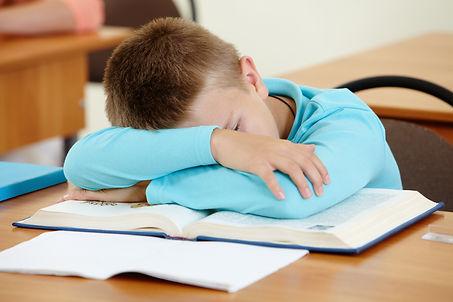 Cute schoolboy lying on book and sleepin