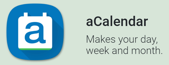 aCalendar logo with their slogan, 'Makes your day, week, and month'.